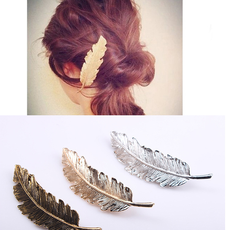 Korea New Fashion Metal Feather Hairpin Hair Clips Satement Hairpins Hairwear Accessories Women Jewelry(China (Mainland))