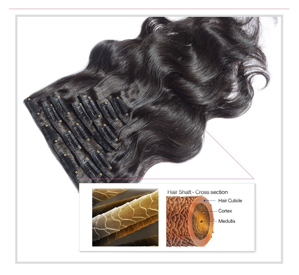 Extensiones Clip Natural Remy 100% Human Hair Dark Brown Clip In Hair Extensions 22 24 26 Inches Brazilian Body Wave Clip Ins