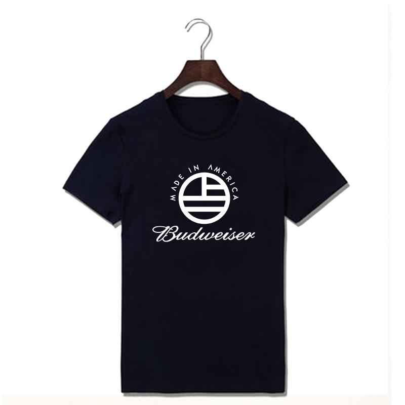 Famous Beer Brand Budweiser Logo T Shirts Men Summer Cotton Casual T-shirts Fashion Print Tshirs Plus Size Tees(China (Mainland))