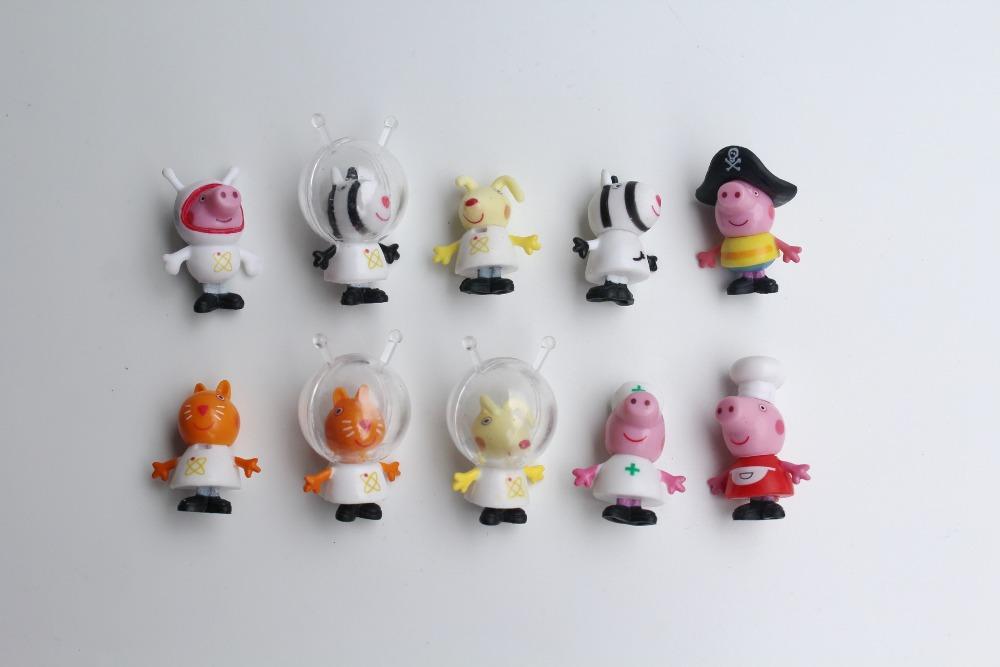 100pcs Lovely Pigs Sheep Dog Doll.3cm.Mini Cartoon Dolls.Pink pig Cat Candy Sheep Susie Rabbit Rebecca Animals Toy(China (Mainland))