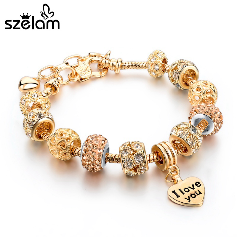 2016 High Quality Heart Charm Bracelets For Women Snake Chain Gold Plated Bracelets Bangles Fashion Jewelry