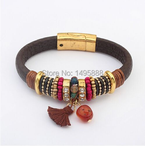 2015 New Europe Brown & Gold Color Fashion Charm Multilayer Leather Bracelet For Women Gifts For Party Aliexpress Jewelry(China (Mainland))