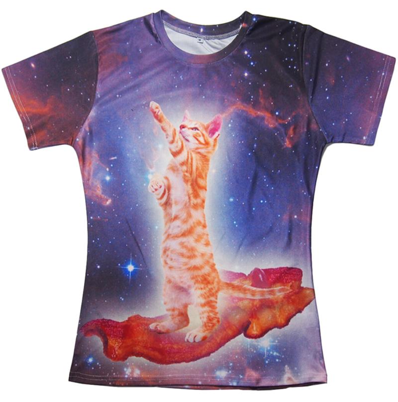 3d print harajuku tee Bacon Cat T-Shirt Space cats BACON in galaxy t shirt animal summer fashion clothing women/men plus size(China (Mainland))