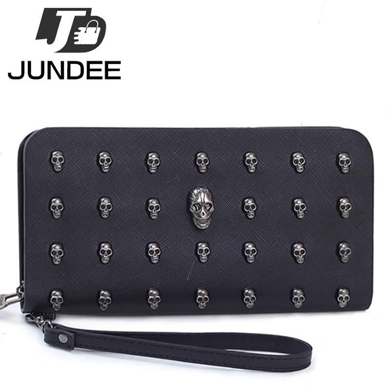 2016 New Women Leather Handbag Zipper Wallet Female Long Design Wallets Vintage Skull Rivet Hand Bag Clutch Card Holder Purses(China (Mainland))