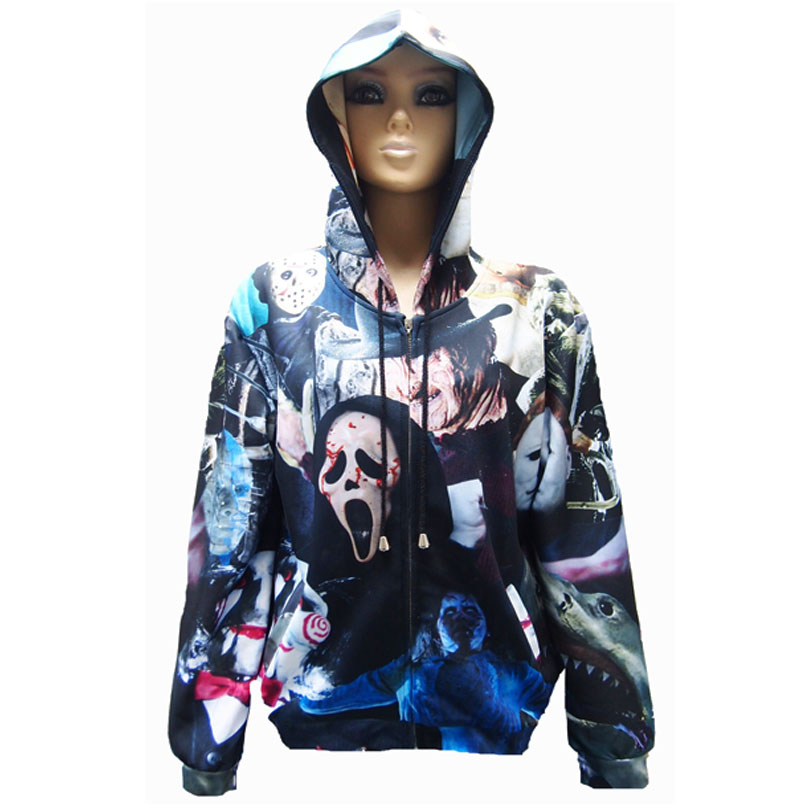 Fall/winter coat men/women 3D print jackets Michael Myers Leatherface Hellraiser jacket clothing baseball jacket Free shipping(China (Mainland))
