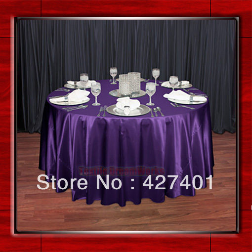 """Hot Sale Purple Shaped Poly Satin Table Cloth Wedding Meeting Party Round Tablecloths/Table Linen (128"""" Round )(China (Mainland))"""