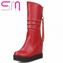 Size 32-52 Fashion Pleated Half Knee Boots 2015 Brand Hidden Wedge High Heels Platform Boots Fall Winter Boots Women Shoes Woman(China (Mainland))