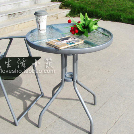 Verre petite table petite table ronde tables d 39 appoint en plein air meubl - Table en verre pliante ...