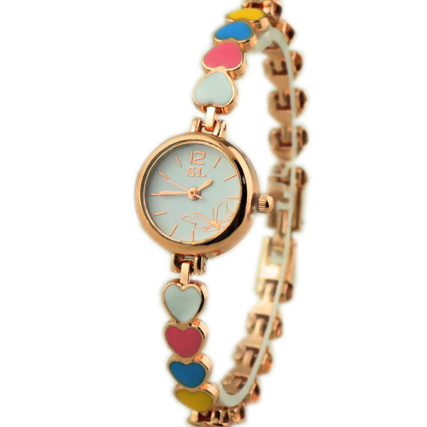 Famous Brand Luxury Ladies Fashion Watches 2015 New Women Watch Girls Royal Gold Dial Bracelet Quartz Watches Stainless Steel(China (Mainland))