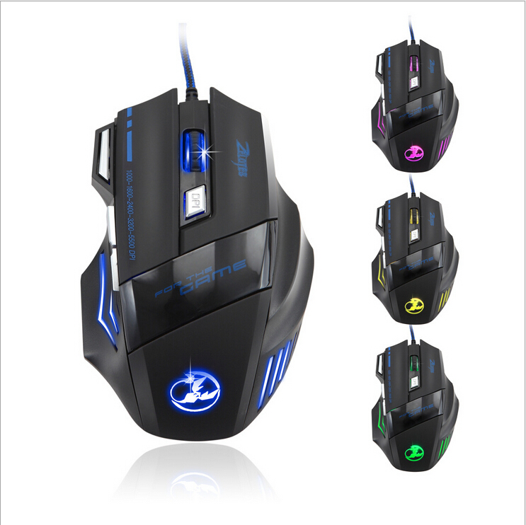5500DPI Ergonomically designed 7 Button LED Optical Gaming Mouse USB Wired Gaming Mouse Mice For Pro Gamer Hot Promotion(China (Mainland))