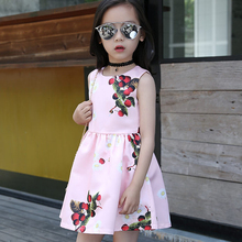Girl Dress Cherry Printing Summer Dress Kids 2016 Sleeveless O-neck Toddler Girl Dresses Fashion Cute Kids Clothes 609C