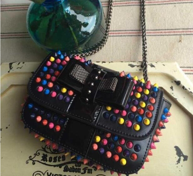 Free shipping luxury sweet charity cluch colorful rivets evening bag fashion handbag for women drop shipping 2015 Messenger Bags<br><br>Aliexpress