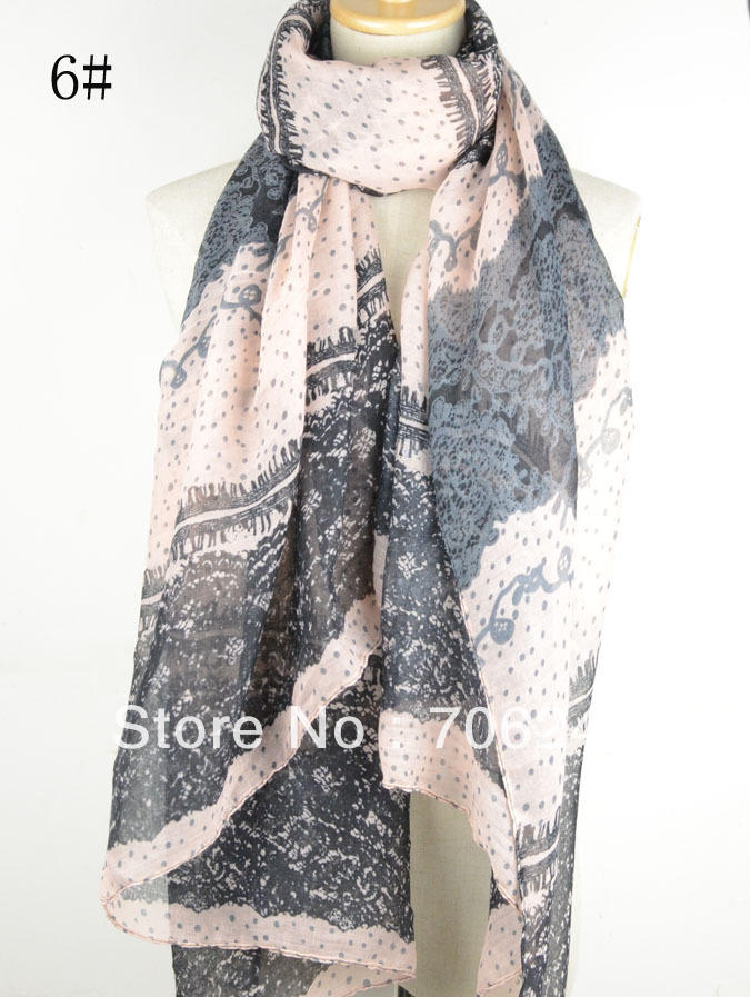 ,lace printed scarf,2013 new design,Spring shawl,ladies scarf,fashion scarf,muslim hijab,big size 110*180cm  -  ELLEN FASHION ACCESSORIES store