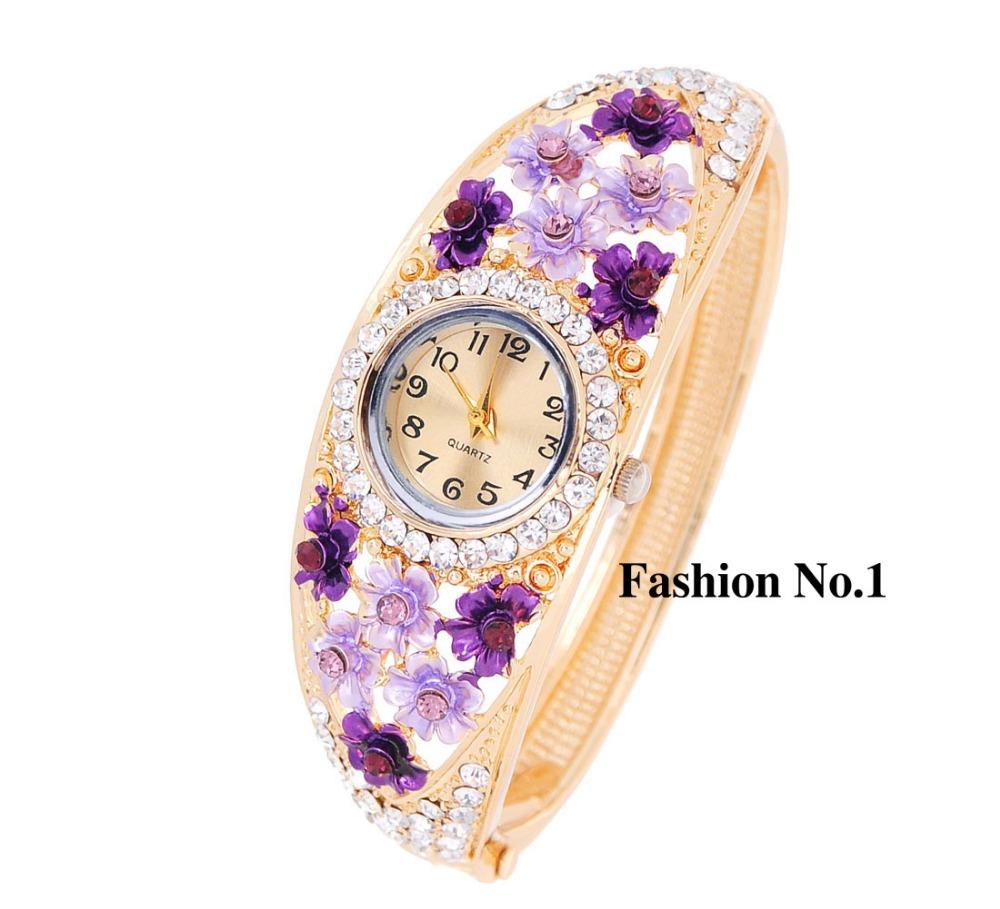 Free Shipping Hot Sale Geneva Stylish crystal Flower 18k Gold Plated Women Dress Watch Casual Quartz Bracelet Bangle Watches<br><br>Aliexpress