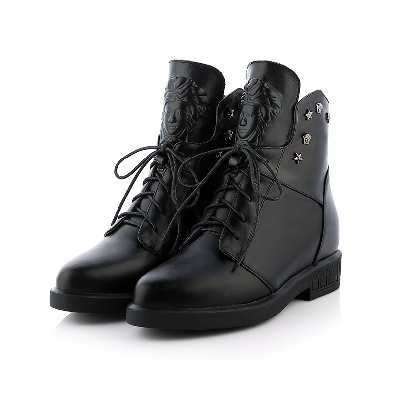 2016 New Arrival Soft Full Grain Leather Motorcycle Platform Ankle Rivets Boots Lace up Punk Low Heel Pointed Toe Plush Boots(China (Mainland))