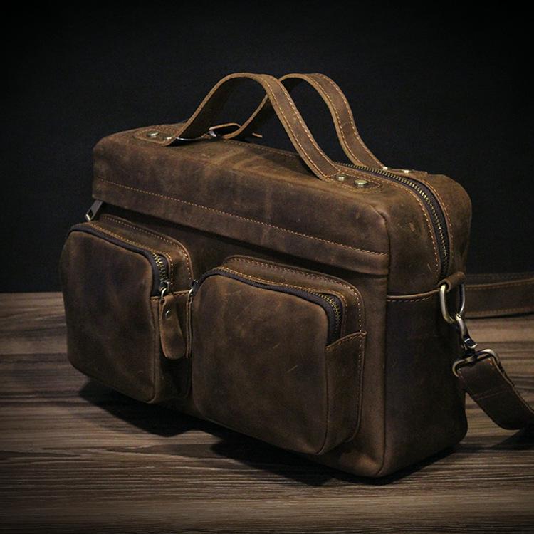 100 Handmade Crazy Horse Genuine Leather Men Messenger Bags High Quality Vintage Fashion Men s Leather