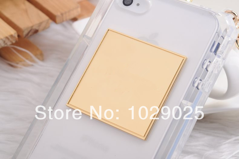 Free shipping Famous fashion luxury brand perfume clear case for iphone 5 5s protective skin cover with leather golden chain(China (Mainland))