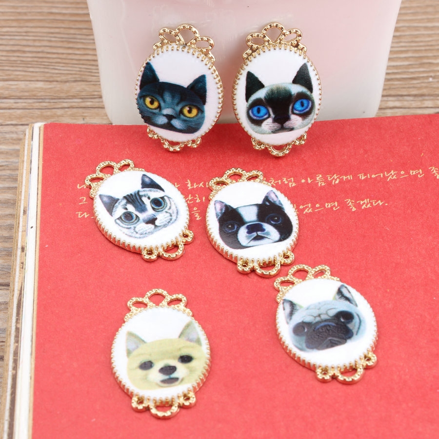 2016 New Adorable Puppy and Kitty Oil Drop Charms, Rose Gold Plated Cat & Dog Charms, Jewelry Accessories, 12pcs/Lot(China (Mainland))