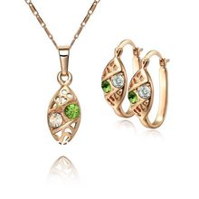 SE598 Fashion 18k Set Rose Gold Plated Necklace Earring Jewelry for Women Lead Free Top Quality Free Shipping(China (Mainland))
