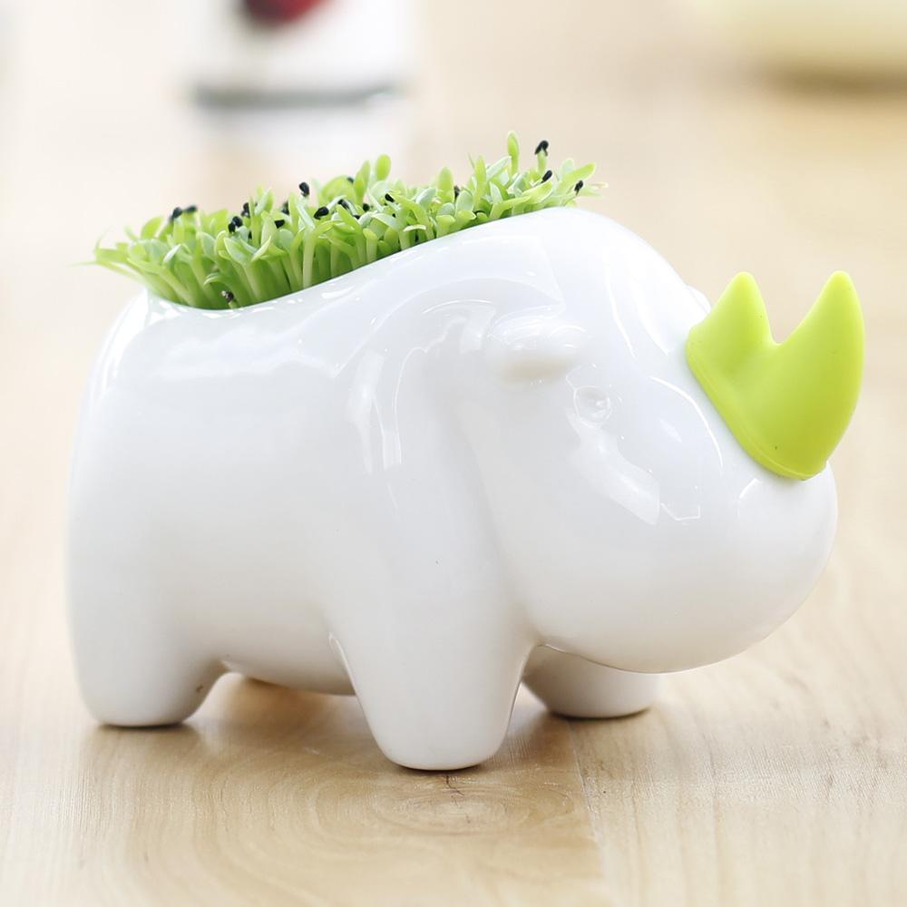 Creative Desktop Planting Rhinoceros Home Decoration Lovely Storage Office Potting Decor(China (Mainland))