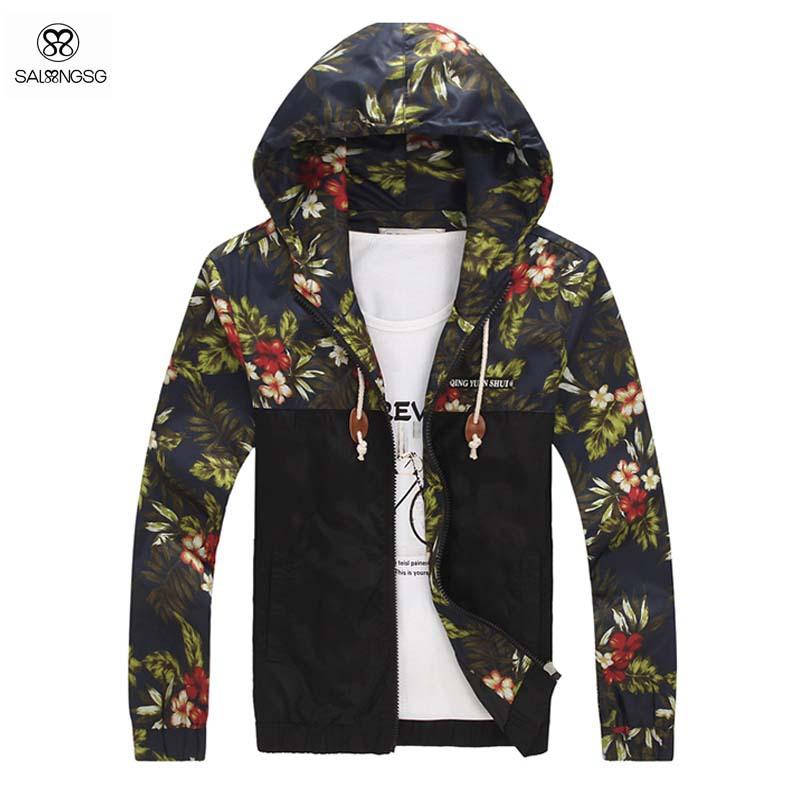 Men Floral Jacket Plus Size 5XL Jaqueta Military Men Windbreaker Jackets And Coats Sportswear Men's Raincoat Winter Outdoor(China (Mainland))