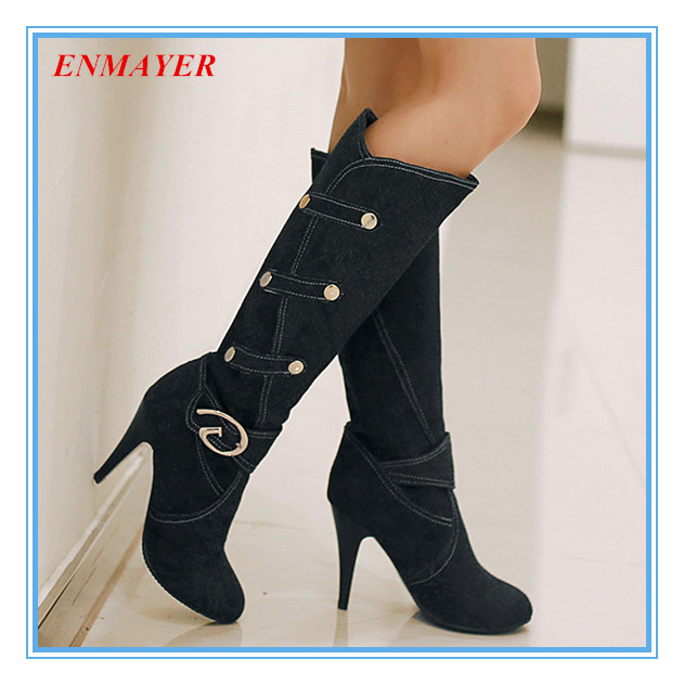ENMAYER    knee high Fanshion boots used for Winter for women nubuck leather high Thin Heels boots  Solid Buckle boots <br><br>Aliexpress