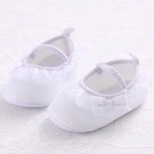 Sweet Lovely Infant Toddler Pure White Princess Baby Girl First Walkers Mary Jane Bow Lace Bordered Soft Soled Shoes For Newborn(China (Mainland))