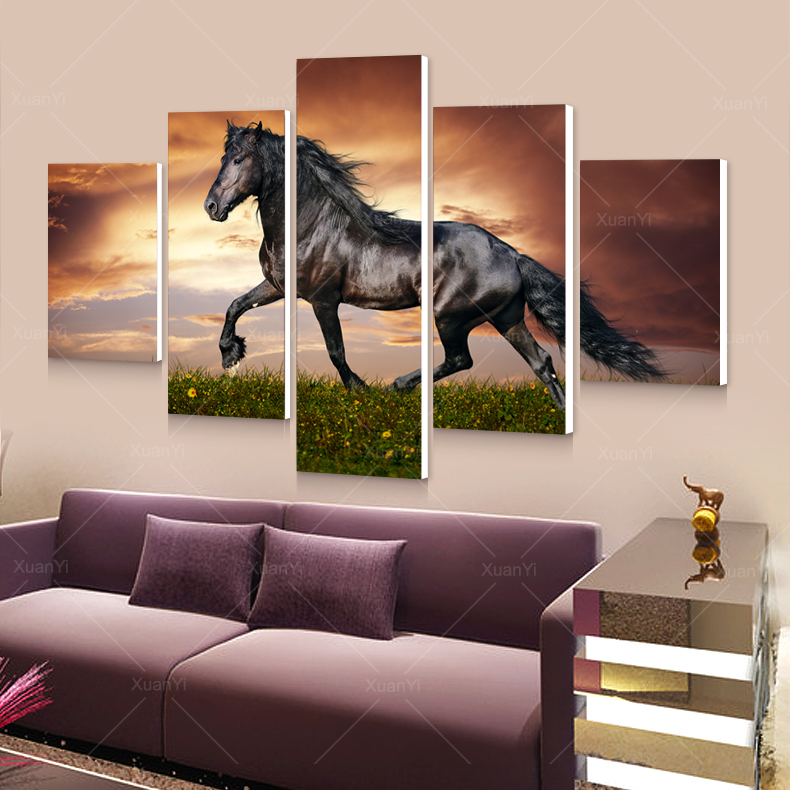 5 Panel Modern Printed Large Horse Painting Picture