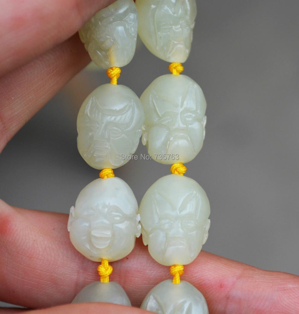 xiuli 0015236 glassy hetian white jade jadeite necklace 18 luohan arhat prayer bead mala worry<br><br>Aliexpress