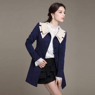 Fall 2013 Korean Designer Slim Fit Double Turn-down Collar Long Trench Coats Women Elegant Office Lady Formal Outerwear Winter(China (Mainland))