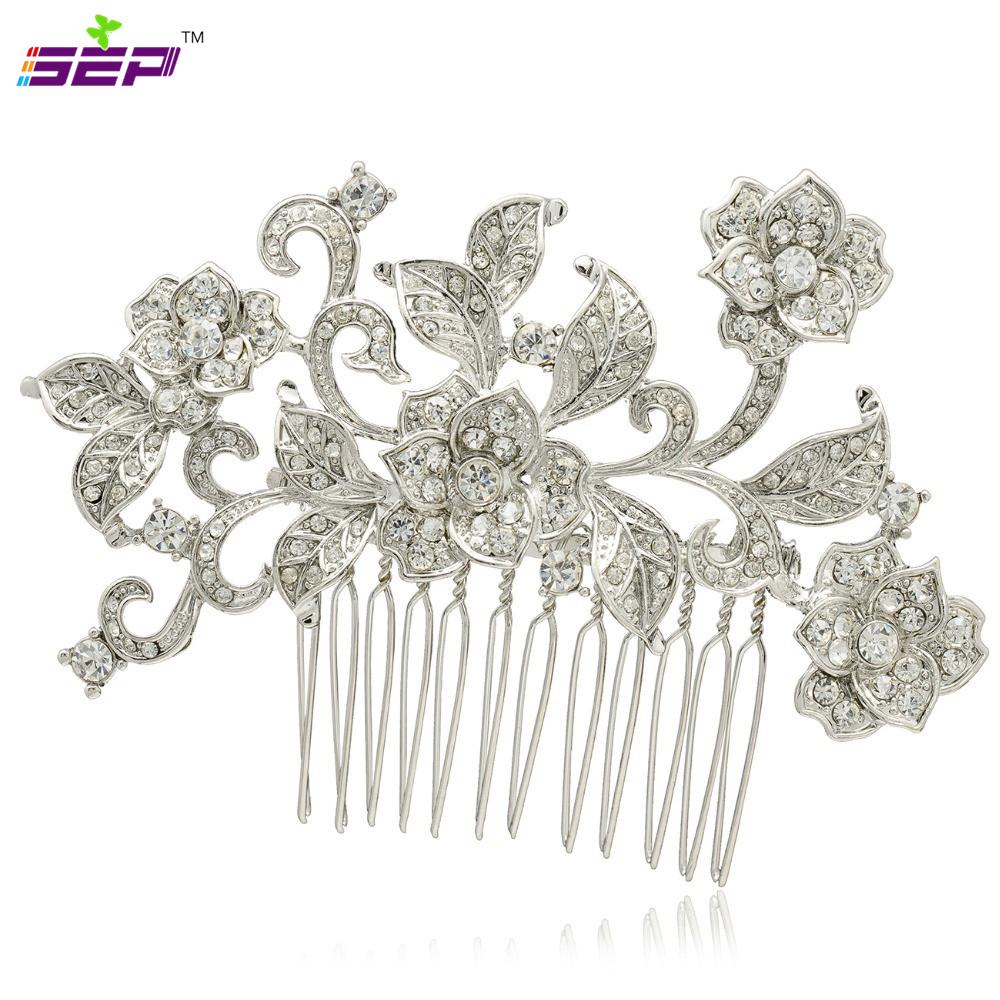 Trendy Bridal Bridesmaid Hair Combs Women Hair Jewelry Wedding Hair Accessories Rhinestone Crystals Zinc Alloy Fa3241(China (Mainland))