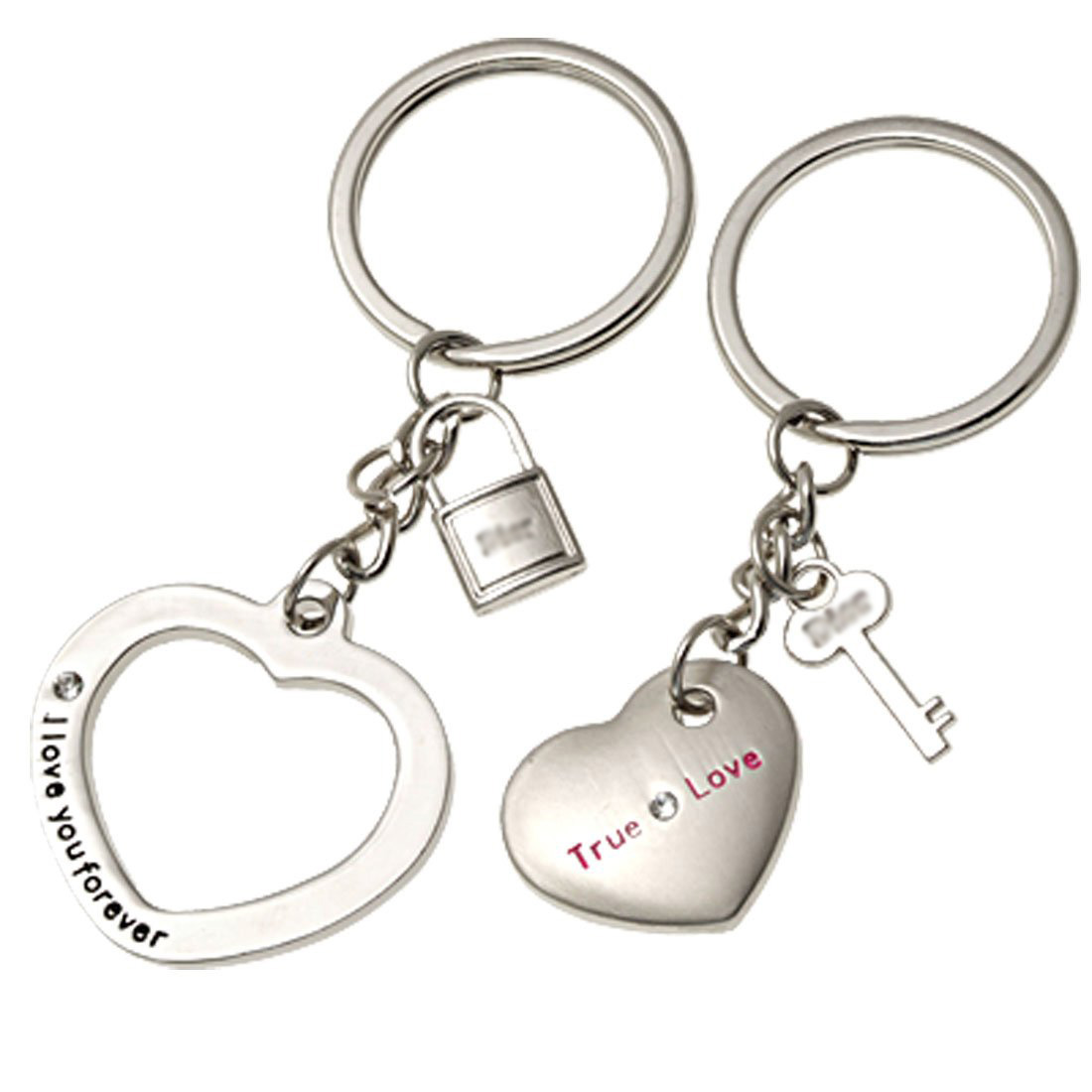 5 Pcs Wholesale Silvery Lovers Metal Key Chains Keychain Rings<br><br>Aliexpress