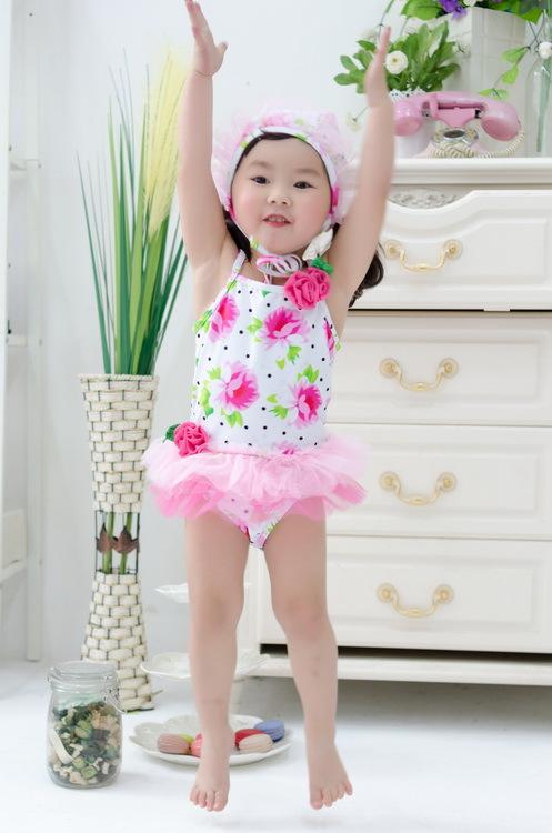 Girls Clothing Kids Children Swimsuit flower Print One-piece Swimwear With Hat Maillot de Bain Enfant For girl <br><br>Aliexpress