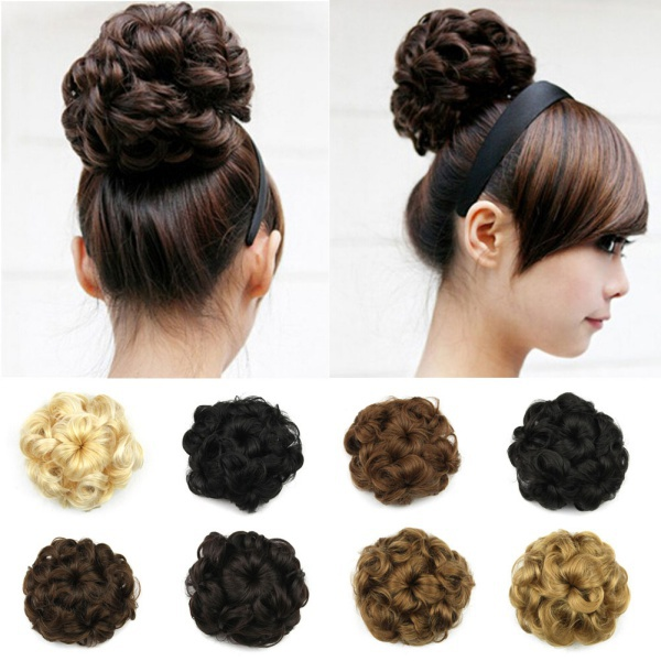 Wavy Curly Synthetic Hair Bun Cover Hairpiece Clip in Scrunchie Hair Extensions(China (Mainland))