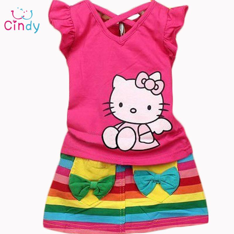 2016 Summer girls clothing sets baby girl cute clothes hello kitty t shirt +skirts 2pcs fashion costumes 0-6T(China (Mainland))