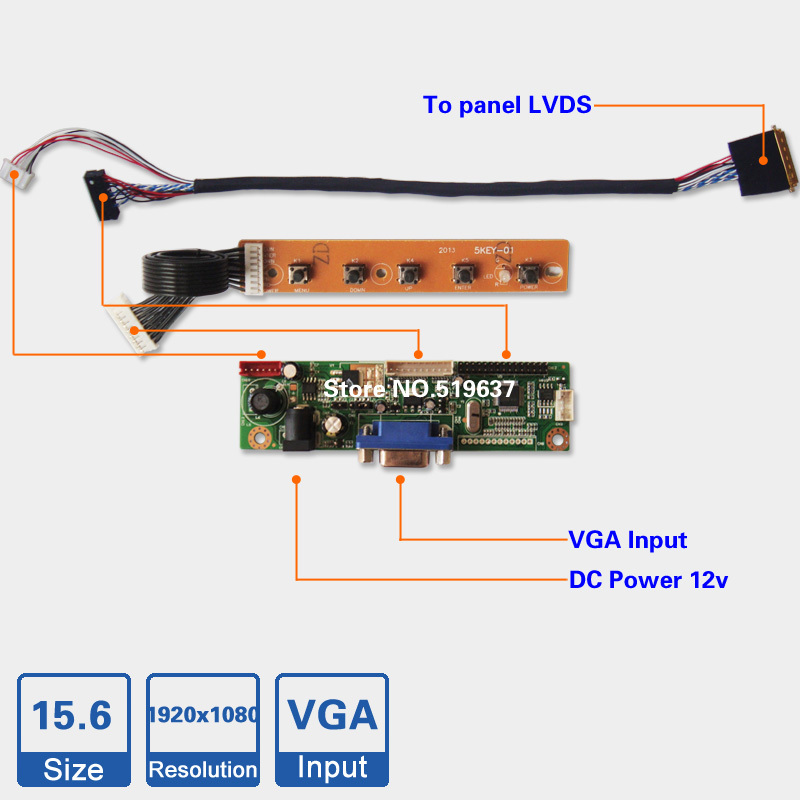 15.6 inch 1920*1080 LED Backlight Laptop LCD Screen Controller Board Kit DIY monitor driver board(China (Mainland))