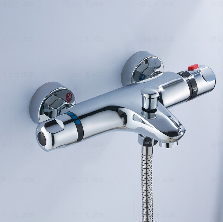 high quality brass chrome wall mounted bathroom thermostatic faucet,thermostatic shower tap(China (Mainland))