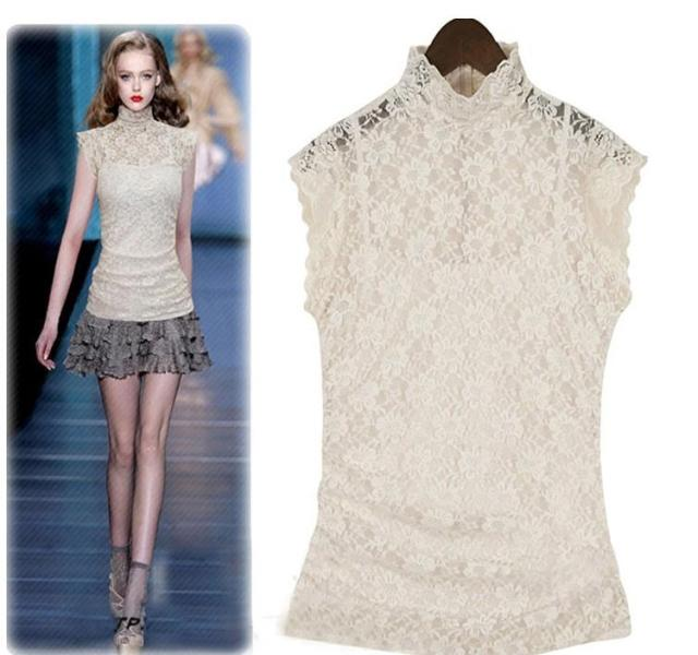 New arrival 2016 summer women turtleneck lace top, female short-sleeve basic shirt, Hollow embroidery Shirred(China (Mainland))