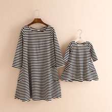 50%OFF Sale Black Striped Cotton Long Sleeve Pocket Knee-Length  Matching Mother Daughter Dresses Clothes Family Clothing Look