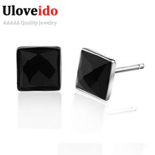 New Square Black Stud Earrings for Men 925 Sterling Jewelry Women Earing with Cubic Zirconia Bijoux Vintage Joyas Ulove JS1012(China (Mainland))