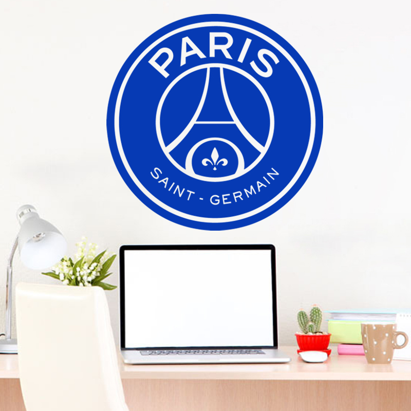 Art new design home decor vinyl cheap Paris football logo wall sticker colorful house decoration France soccer decals in rooms(China (Mainland))