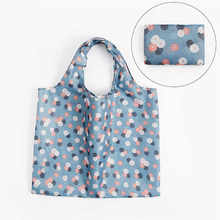 Cartoon shopping bag folding green bag polyester large transparent bag wardrobe organizer zip lock plastic bags cosmetics @12(China)