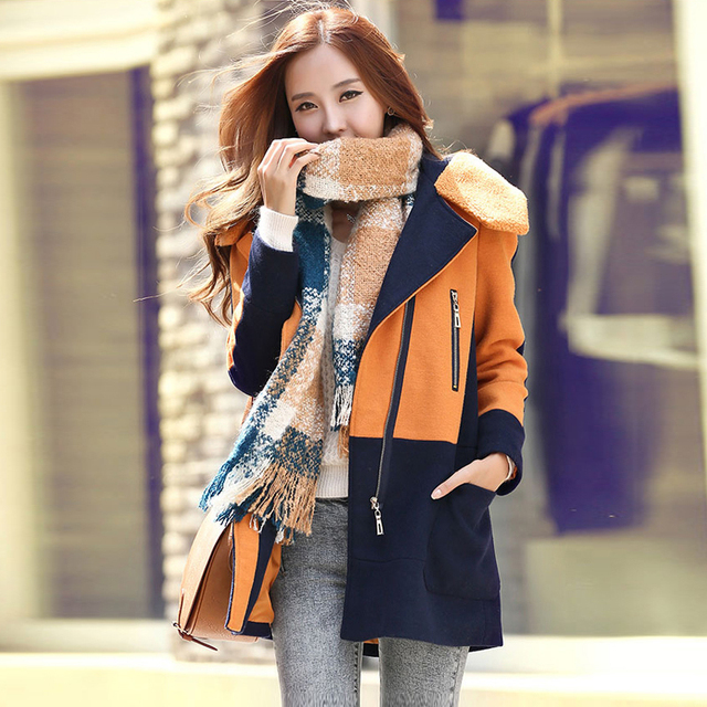 2015 зима осень женщины шерстяное пальто женский теплой шерсти с длинным рукавом ...