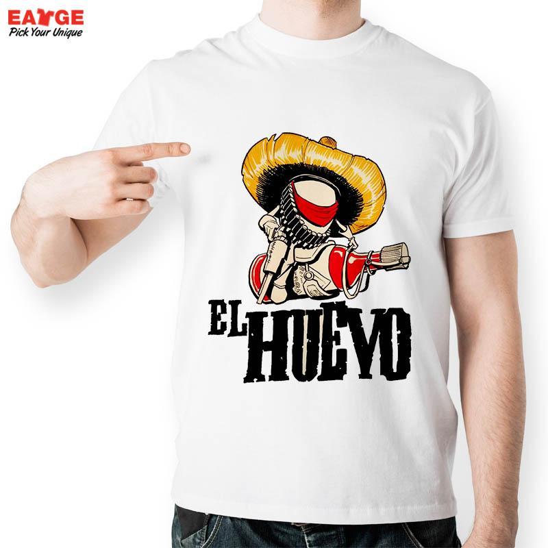 EATGE Casual White Printed T shirt Men Funny Short Sleeve O neck Tshirt 2016 New
