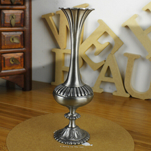 2015 European Style Home Decoration Zinc-alloy Tabletop Vase Vintage Flower Carved Pewter Art craft Gift(China (Mainland))