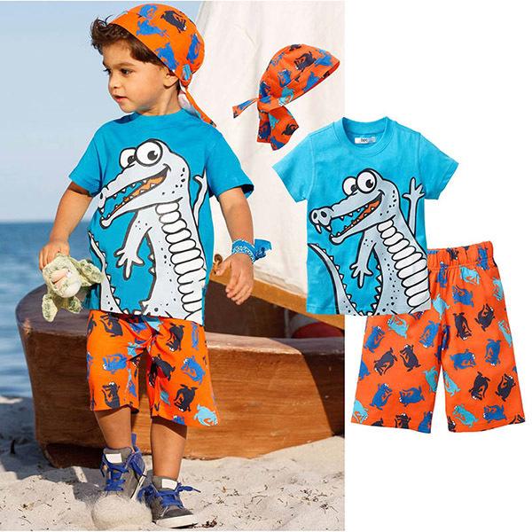 New 2015 summer boys clothing set brand clothes sets 3pcs cartoon children clothing boys short sleeve t-shirt+ Beach pants+hat(China (Mainland))