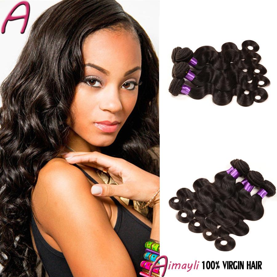 7A Unprocessed Virgin Brazilian Body Wave Hair Virgin Brazilian Wavy Hair 4pcs King Brazilian Hair Bundle Deals Natural Color 1b
