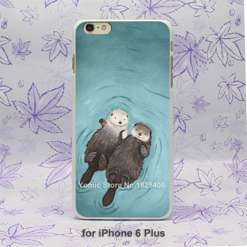 lovely otters holding hands Pattern hard White Skin Case Cover for iPhone 4 4s 4g 5 5s 5c 6 6s 6 Plus(China (Mainland))