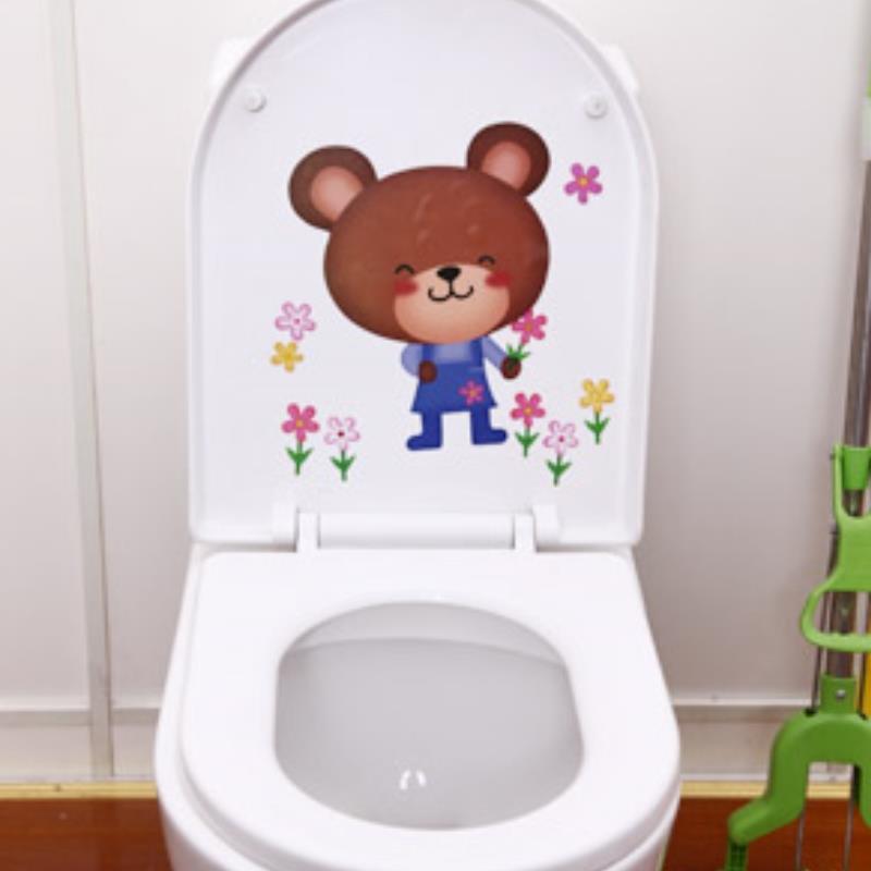 Bathroom decorative items lovely bear Toilet Decal Decor Bathroom Wall Sticker Pegatinas WC Watch video below(China (Mainland))