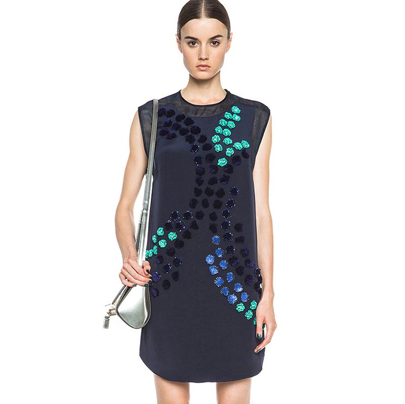 U.S. Designer Vintage Silk Women Dress Dandelion Embellished Embroidery 100% Natural 2015 Brand New Crew Neck Dresses - Miranda's wardrobe(luxury brand factory Direct store)